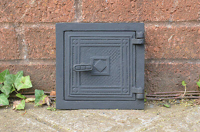 16 x 16 cm old cast iron fire bread oven door/doors /flue/clay/range/pizza
