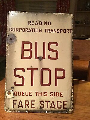 Rare Vintage Enamel  Bus Stop Sign Double - Sided