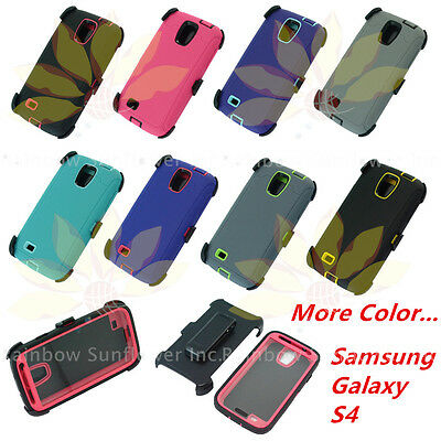 For Samsung Galaxy S4 Plain Defender Case Cover w/(Clip fit Otterbox)&Screen