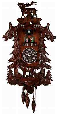 Wood Cuckoo Clock Handcrafted Large Vivid Deer 4 Dancers with Music Xmas Gift