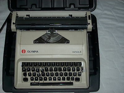 Olympia Carina 2 Portable Typewriter with Hard Carry Case Used Good Condition