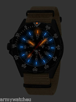 KHS Watch Shooter GMT Second Time Zone Date Tritium Lights German Military Watch
