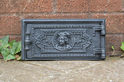 27.2 x 13.4 cm old cast iron fire bread oven door/doors /flue/clay/range/pizza
