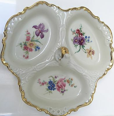 Vintage ALKA BAVARIA Meissen 62 Germany 3 Section w/Handle Ivory Floral w/Gilt