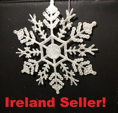 6 PIECES Glitter Snowflakes Christmas Tree Decoration Xmas Party Decoration