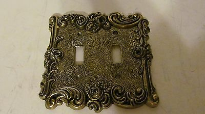 Vintage 1967 Ornate Brass 2 Switch Plate Cover, American Tack & Hardwre