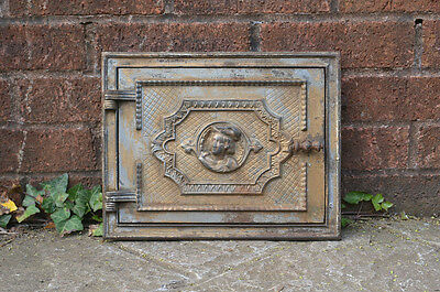 32.7 x 26 cm old cast iron fire bread oven door/doors /flue/clay/range/pizza