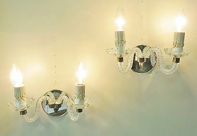 Superb Pair Vintage French Mirrored Wall Lights Sconces Murano Style