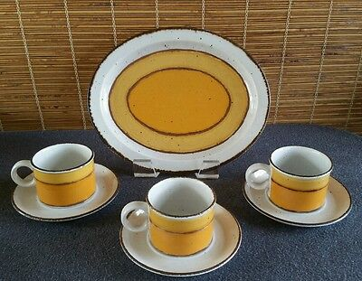 Stonehenge Midwinter Wedgwood SUN Platter and (3) Cups and Saucer Sets