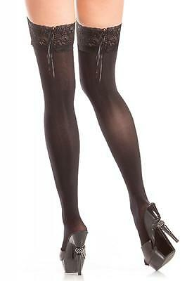 a9c232bbde6 NWT sexy BE WICKED opaque STAY up LACE top LACING tie BACK thigh HIGHS  stockings