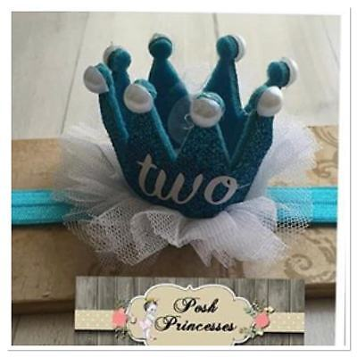 2nd Birthday Number Headband TWO Sparkle Teal Glitter Princess Tiara Crown