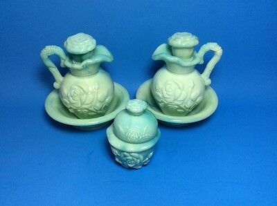 Avon Green Rose Decanter Lot - 2 Bowls Pitchers Stoppers & 1 Covered Jar w/lid