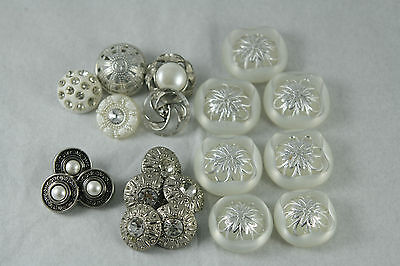 Vtg Plastic Buttons Lot Domed Centre Foil Rhinestone Faux Pearl Some Sets