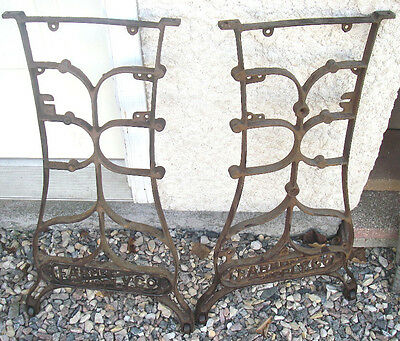 1880's FARMERS SUPPLY CO SEWING MACHINE CAST IRON BASE TABLE LEGS INDUSTRIAL AGE