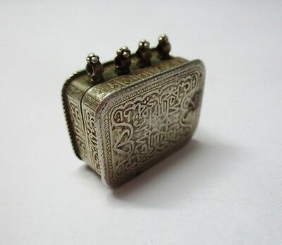Rare Old Islamic Antique Calligraphy Amulet Pendant Silver Miniature Quran Box