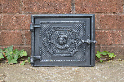 27.5 x 22.5 cm old cast iron fire / bread oven door/doors /flue/clay/range/pizza