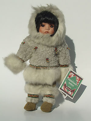 Indian Arts & Crafts ESKIMO Traditional Costume Outfit DOLL by HERITAGE DOLLS