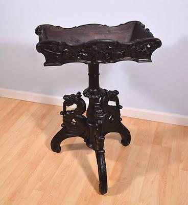 *French Antique Napoleon III Plant Stand Black Lacquer Painted Oak w/Griffins