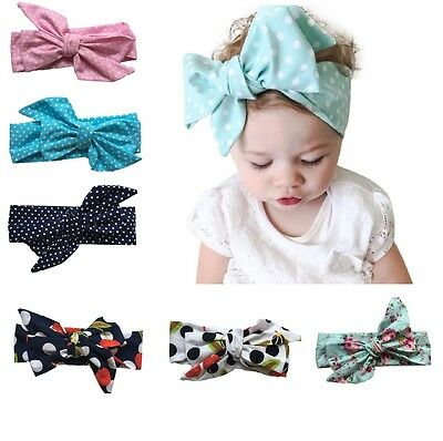 Baby Kids Girls Infant Spot Bow Hairband Turban Knot Rabbit Headband Headwrap UK