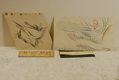2 antique spencerian drawings (birds), 1 good student award, all 3 signed, 1840
