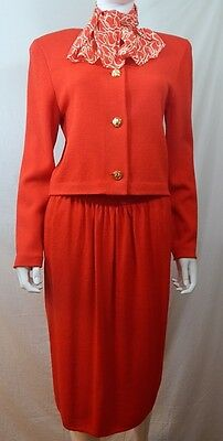 St John Vintage Bright Red Wool Blend 3 Piece Suit With Scarf 12 MLAB