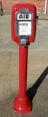 Eco Red Pedestal Air Meter Tireflator Gas Service Station Air Tire Pump