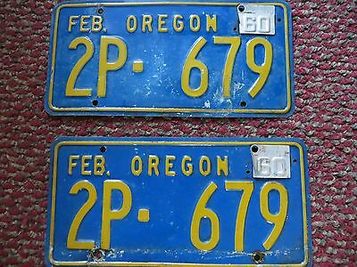 1957-58 Oregon License Plates With Metal Tags