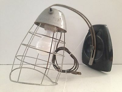 Vintage Industrial Wall Light with Metal Cage Works! Viking
