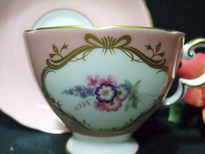 English 'susie Cooper ' Bone China Teacup & Saucer Signed Pink Gold Beautiful