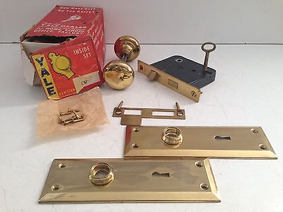 Vintage NOS YALE Solid Brass Door Knob Lock Set Hardware Salvage Complete