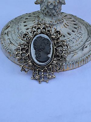 Vintage Victorian Revival Black Glass Mourning Cameo Rustic Gold Pendant Brooch