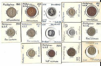 PHILIPPINES COINs SENTIMO CENTAVO LOW MINT KEY DATE LAPULAPU 1903 1944 1941 1975