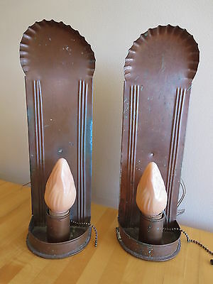 Pair (2) Rancho California Monterey Period Wall Copper Sconces Light Lamps