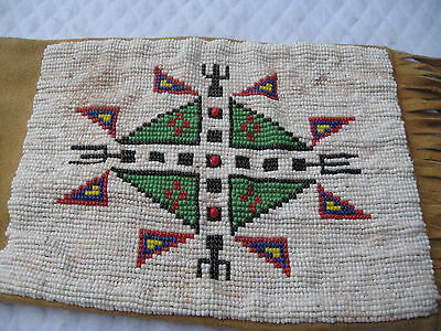 "American Indian Signed Antique ""Plains/Potawatomi"" Beaded 32""Tobacco Pipe Bag"