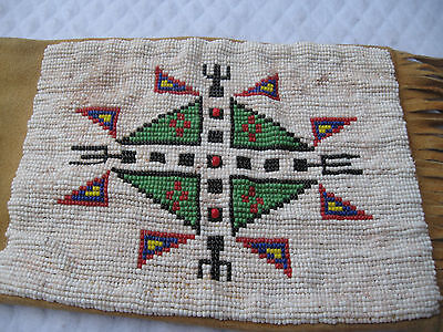 """American Indian Signed Antique """"plains/potawatomi"""" Beaded 32""""tobacco Pipe Bag"""