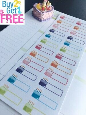 PP202 -- 24pcs Birthday Reminders Life Planner Stickers for Erin Condren