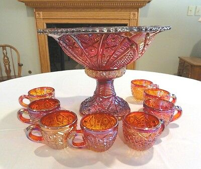 Indiana Glass Red Carnival Heirloom Punch Bowl & 8 Cups