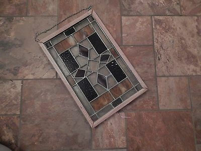 """Old Antique English Leaded Stained Glass Window 18"""" X 12"""""""