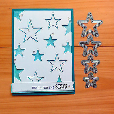 Die-Namics Inside & Out Stitched Stars Cutting Dies 4 Shapes - Bnip