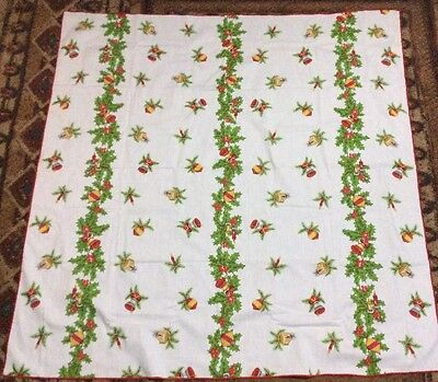 NM-Vintage 50s linen Christmas tablecloth shiny brites holly bows candles gold