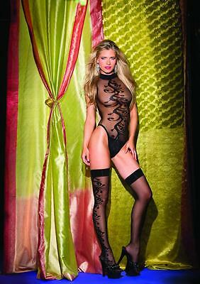 NWT sexy BE WICKED sheer TEDDY jacquard SWIRL thigh HIGH stockings LINGERIE SET