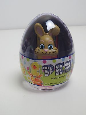 PEZ Mini Easter Bunny Candy Dispenser In Easter Egg Container Brown Bunny Rabbit