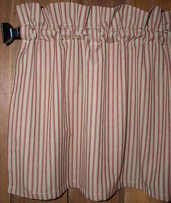 Country Red and Tan Homespun Ticking Valance Country Candy Cane Curtains