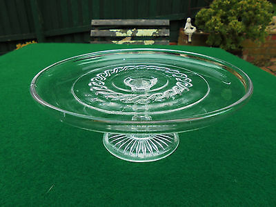 ANTIQUE AUSTRALIAN DEPRESSION GLASS CAKE STAND CROWN CRYSTAL GLASS c1930