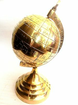 Nautical Maritime ~ Solid Brass Globe ~ Table Top ~ Earth / World Globe 5""