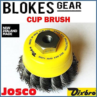 "Josco Dixbro Wire Knot Cup Brush 65mm for 100mm / 4"" Angle Grinder M10 x 1.5"
