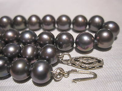"""VTG 14K GOLD CLASP AAA QUALITY GENUINE TAHITIAN 7.5 mm BLACK PEARL 20"""" NECKLACE"""