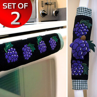Kitchen Appliance Handle Covers Home Decor For Oven Refrigerator Purple Grapes