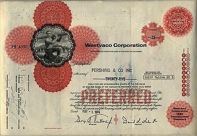 Westvaco Corporation Stock Certificate  West Virginia Pulp & Paper Red