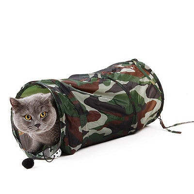 Pet Cat Tunnel Toy Collapsible Camouflage Tunnel Crinkle Cat Kitten Funny Bell